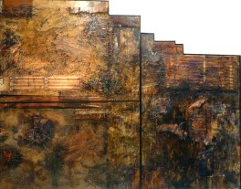 Margaret Chen - Steppe IX (1982-89), mixed media on plyboard, Collection NGJ