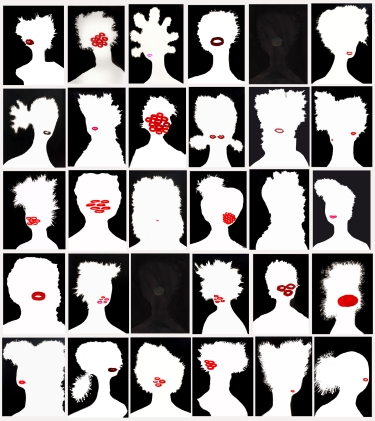 Shoshanna Weinberger - Invisible Visibility: 30 Day Portraits, Month of September (2016), ink/collage on paper